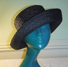 DENTS BLACK CHARCOAL ALMOST TWEEDY EFFECT STRAW BOWLER HAT CHIC VERSATILE