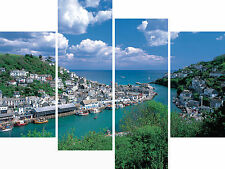 Large 4 Panel Set Wall Art Canvas Pictures Looe Cornwall Beach Holiday Prints