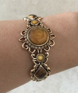 Barse Cuff Bracelet, Genuine Citrine Tiger's Eye & Honey Jade with Bronze