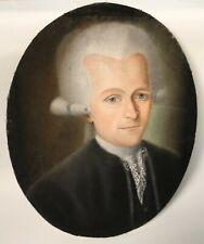 TABLEAU PASTEL XVIII SIECLE PERSONNAGE ECOLE FRANCAISE CADRE DORE 1786 ROLIN