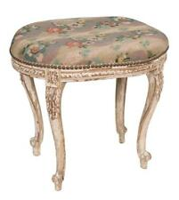 Oval Louis Xv style painted stool with floral tapestry cushion and aca. Lot 22