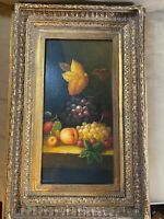 "Superb Histone ""Still Life With Fruits & Flowers"" Oil Painting - Signed/Framed"