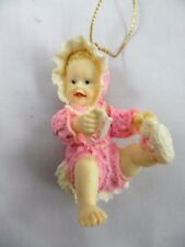 HEIRLOOM ORNAMENT FROM ASHTON DRAKE XMAS BABY GIRL PLAYING WITH HER TOES DOLL