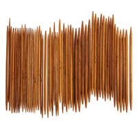 55 Stück Bambus Stricknadel Set Dual Spitz 11Größen 2~5mm Länge 14cm Nadelspiel