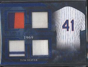 2020 Leaf TOM SEAVER In The Game game worn quad patch /35 HOF New York Mets