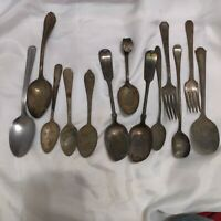 Old  Set With Tarnish Fast Free shipping. Forks Spoons Silver Antique