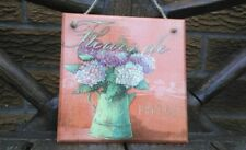 Shabby chic picture plaque, floral, handmade, decoupage picture, flowers French