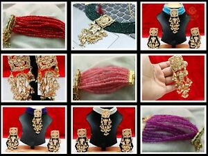 Indian Ethnic Pearl Pirai Choker Necklace Earrings Fashionable Weddings Jewelry