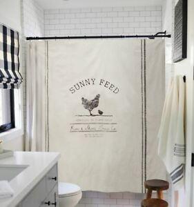 Chic Shower Curtain Farmhouse Country Chicken Feed Grain Sack Farm Sunny Feed