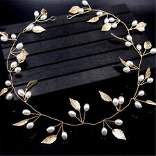Pearl Gold Leaf Boho Wedding Bridal Headband Bride Bridesmaid Hair Headdress DIY