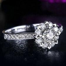 Real 10k White Gold 1.00 Ct Diamond Snowflake Engagement Wedding Ring