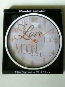 """Love You to the Moon and Back"" Round Wall Clock 12"" White Frame Home Decor"