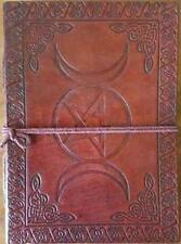 Leather Triple Moon Goddess & Pentagram Embossed Book of Shadows!