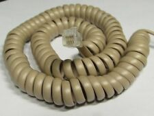 TAN BEIGE 7' Ft LONG Curly Coil Handset Phone Cord Spiral Receiver Telephone New