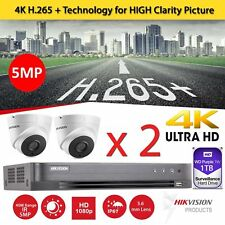 2 x Hikvision CCTV HD 1080P 5MP Night Vision DVR Home Security System Kit 1TB