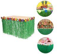 9ft Hawaiian Luau Green Artificial Table Grass Flower Skirt Party Decorations