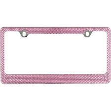Bling Pink Crystal Rhinestone Metal License Plate Frame+Free Bling Cap