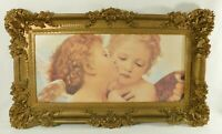 """Large 36"""" Vintage Ornate Gold Syroco Angel CHERUB Putti Framed Wall Picture USA"""
