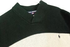 Polo Ralph Lauren Sport THICK KNIT V Neck Sweater Pullover Jumper Mens M Green