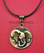 Vintage Bronce PL Elefante Disco Colgante Collar Damas Regalo Amante de los animales África