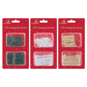 300 x CHRISTMAS TREE HOOKS Bauble Ornament Hangers Hanging Decoration Wires UK