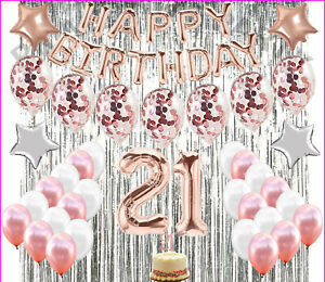 21St Birthday Decorations 21 Party Decoration Balloons Supplies ROSE GOLD!!!!
