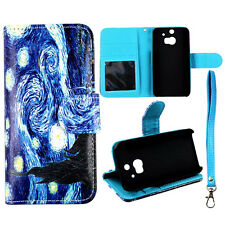 PU Leather Wallet Blue Art Case for  HTC One M8 Phone Cover :
