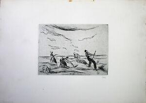 WILLY HABL - Heuernte (1935). Handsignierte Radierung, Griffelkunst.