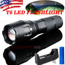 LED Tactical Lamp Flashlight Police Rechargeable Torch Light T6+Battery&Charger