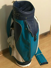 """Vintage Titleist 9"""" Golf Bag With Original Rain Cover Turquoise Blue Wht New Nos"""