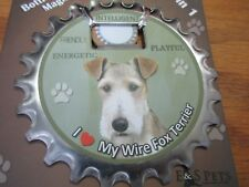 E&S Pets I Love My Wire Fox Terrier 3 in 1 Bottle Opener Coaster Magnet New