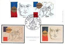 2141/2+ CARTE 1er JOUR SUR SOIE  FRANCE + PARIS PHILEXFRANCE 82