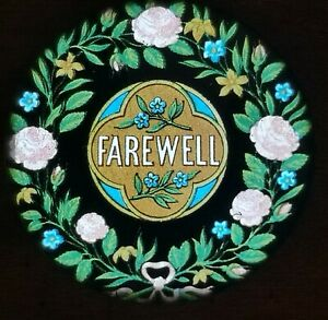 VICTORIAN WOOD FRAMED MAGIC LANTERN TITLE SLIDE / FAREWELL