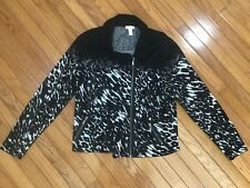 Chico's Women's Black & White Full Zip Leopard Print Sweater Jacket Size 3