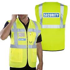 Security Hi Vis Safety Vest Waistcoat Zipped Phone Pocket & Id front&back