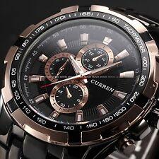 CURREN Rose Gold Black Men's Stainless Steel Analog Sport Quartz Wrist Watch