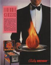 1985 BALLY MIDWAY FIREBALL CLASSIC PINBALL FLYER MINT