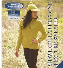 "Shepherd Lambswool Knitting Pattern 5032 Shawl Collar Sweater XXS-XL 26""-46"""