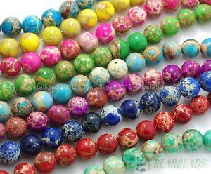 "Natural Sea Sediment Jasper Gemstone Round Loose Beads 4mm 6mm 8mm 10mm 12mm 16"""