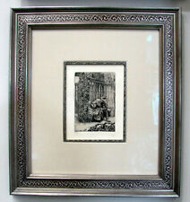 "James Tissot ""Warming Comfort"" Original Etching on Laid Cream Paper RARE -FRAMED"