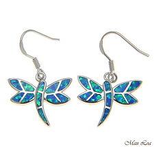 925 Sterling Silver Rhodium Hawaiian Dragonfly Blue Opal Hook Wire Earrings