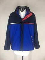 Tommy Hilfiger Jacket Reversible Stowaway Hood Color Block Ski Flag Mens XL VTG