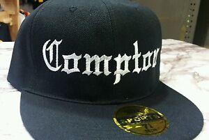 New Compton Embroidery Black FLAT Peak SNAPBACK Hat Cap
