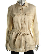 Womens Lauren Ralph Lauren Beige Linen Striped Silk Blend Jacket Au12