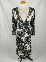 Ladies Dress Size 20 WALLIS Black Grey Faux Wrap Stretch Day Smart Casual Party