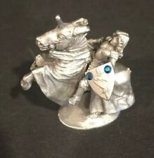Miniature Ral Partha Puter Figurine Of Knight On The Horse With Crystal Pp 229