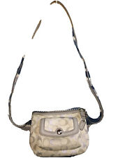 "Coach Crossbody Bag Zip Light Gray Silver Metallic Signature ""C"" SZ Small Tag"