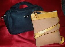 BVLGARI Bags: Lot 2 Brown Cross Body Pochette + Black Bulgari Parfums Faux Suede