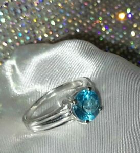 925 Sterling Silver Blue Apatite Ring, UK Ring Size N