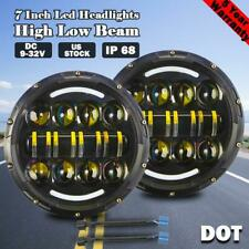 DOT Pair 7 Inch LED Headlights Halo DRL Hi/Lo For Jeep Wrangler JK TJ CJ LJ JL